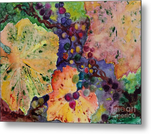 Metal Print featuring the painting Grapes And Leaves by Karen Fleschler