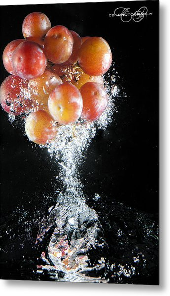 Grapes Splash Metal Print