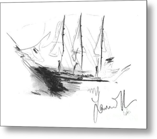 Metal Print featuring the drawing Great Men Sailing by Laurie Lundquist