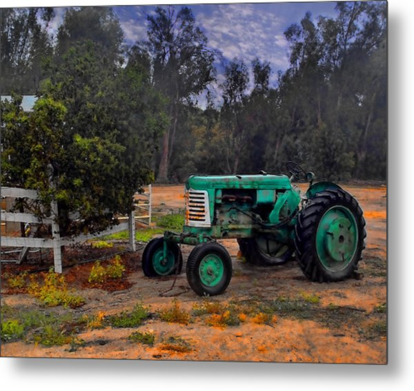 Green Oliver Tractor Metal Print