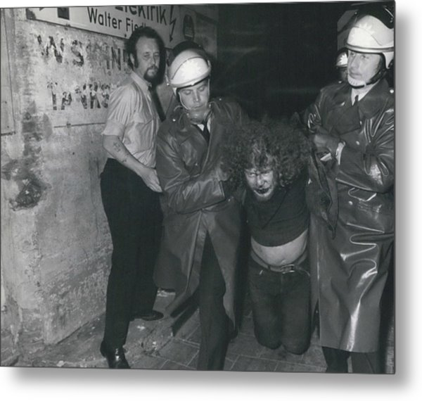 Hamburg Police Clears Occupied House Metal Print by Retro Images Archive