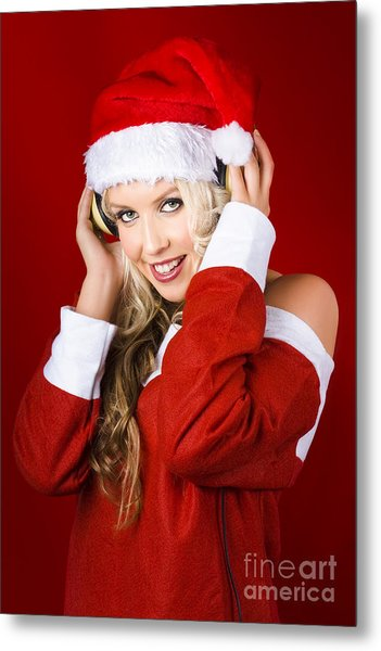 Happy Dj Christmas Girl Listening To Xmas Music Metal Print