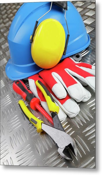 Hardhat And Tools Metal Print by Christian Lagerek/science Photo Library
