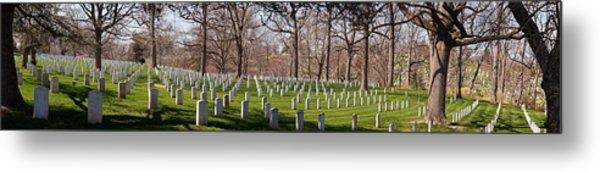 Headstones In A Cemetery, Arlington Metal Print