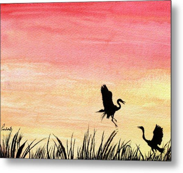 Herons At Sunset Metal Print by Prashant Shah