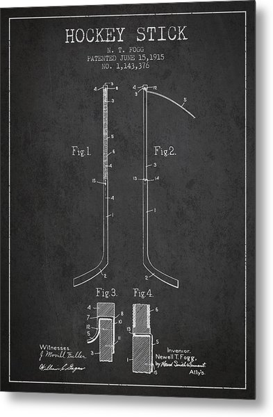 Hockey Stick Patent Drawing From 1915 Metal Print