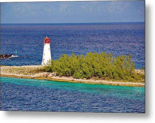 Hog Island Lighthouse On Paradise Island Bahamas Metal Print