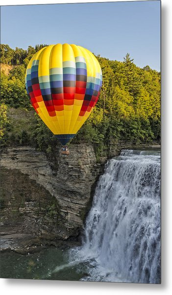 Hot Air Ballooning Over The Middle Falls At Letchworth State Par Metal Print