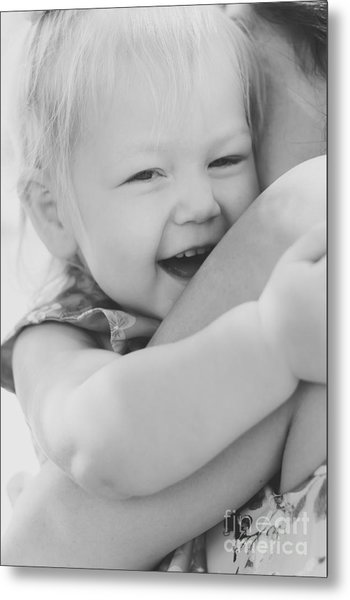 Hugging Mother And Daughter In Black And White Metal Print