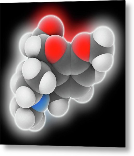 Hydrocodone Drug Molecule Metal Print by Laguna Design