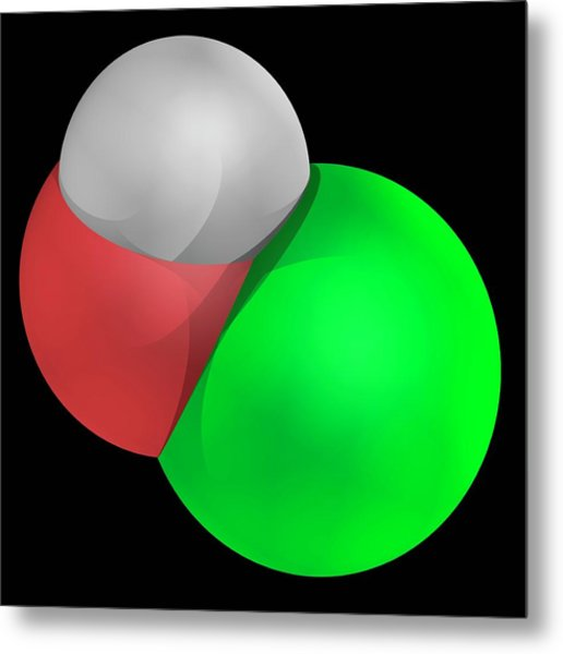 Hypochlorous Acid Molecule Metal Print by Laguna Design/science Photo Library
