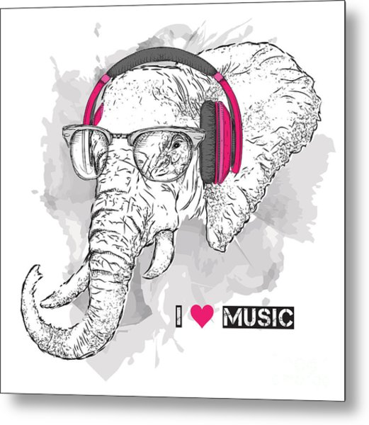 Illustration Of Elephant Hipster Metal Print by Sunny Whale