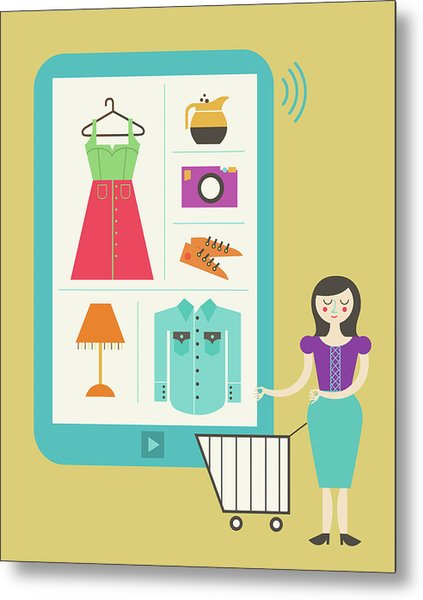 Illustration Of Online Shopping Metal Print by Fanatic Studio / Science Photo Library