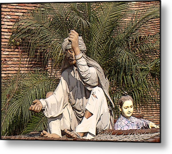 Indian Village Metal Print by Bliss Of Art