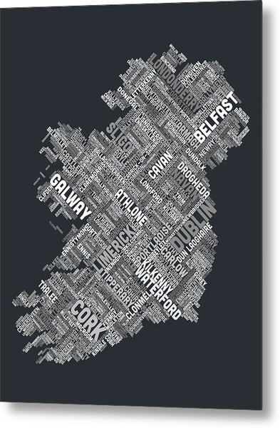 Ireland Eire City Text Map Metal Print