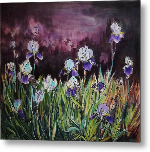 Iris In My Backyard Metal Print