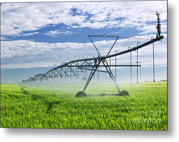 Irrigation Equipment On Farm Field Metal Print