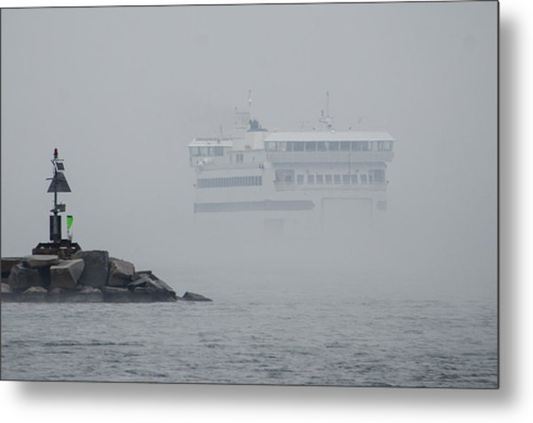 Island Home In Fog Metal Print