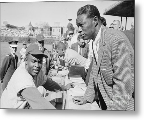 Jackie Robinson And Nat King Cole At Wrigley Field Metal Print by The Harrington Collection