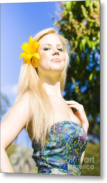 Jaunty Beauty With Flower Metal Print