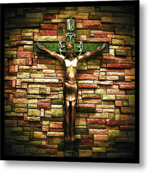 Jesus Is His Name Black Border Metal Print