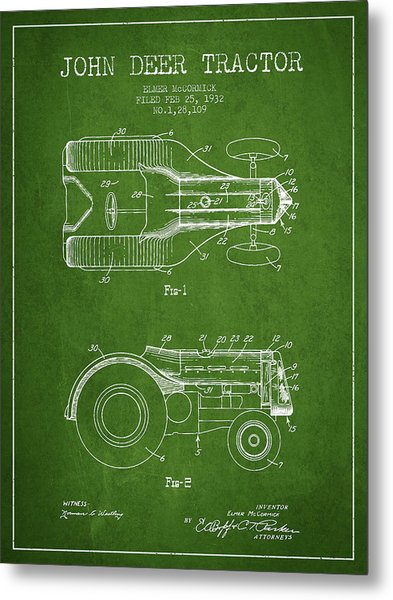 John Deer Tractor Patent Drawing From 1932 - Green Metal Print