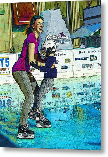 Joy On Ice Metal Print