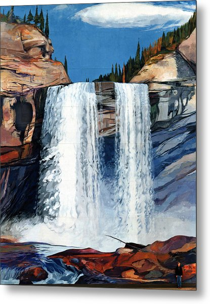 Kakwa Falls Mural Metal Print