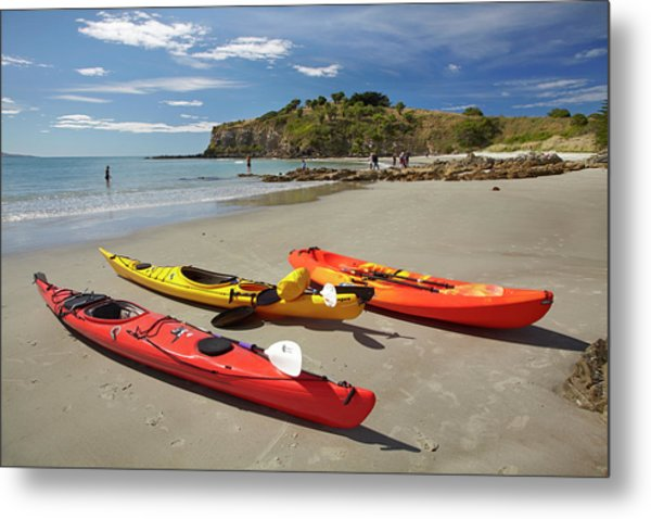 Kayaks On Beach Near Doctors Point Metal Print