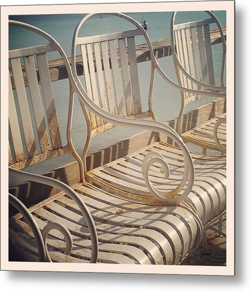 Beach Bar Chairs Metal Print