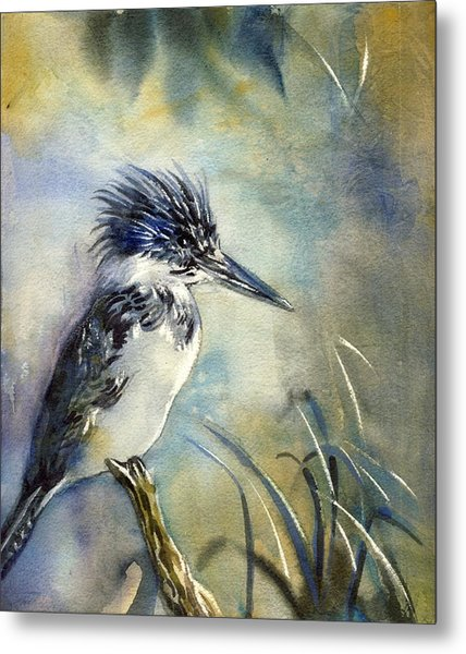 Kingfisher Watercolor Metal Print