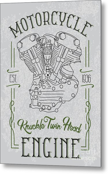 Knuckle Twin Head Motorcycle Engine Metal Print by Sergj