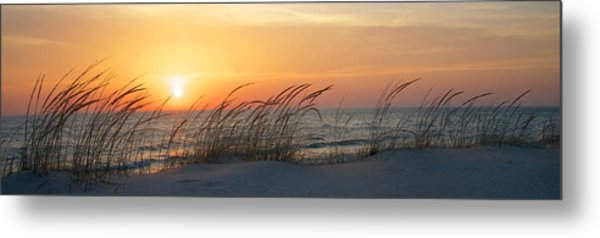 Metal Print featuring the photograph Lake Michigan Sunset Panorama by Mary Lee Dereske