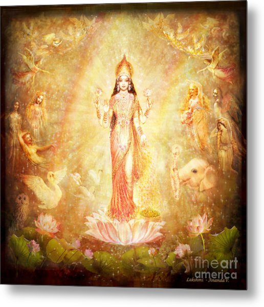 Lakshmi With Angels And Muses Metal Print