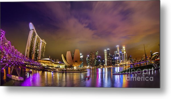 Landscaoe Of Singapore Business District  Metal Print