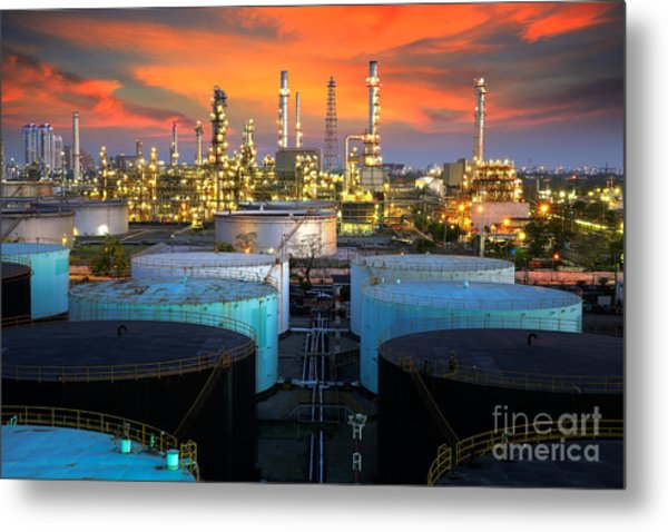 Landscape Of Oil Refinery Industry  Metal Print