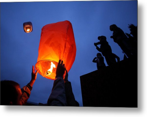 Launching Wish Lanterns Metal Print by Science Photo Library