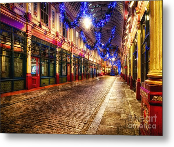 Leadenhall Christmas Lights Metal Print