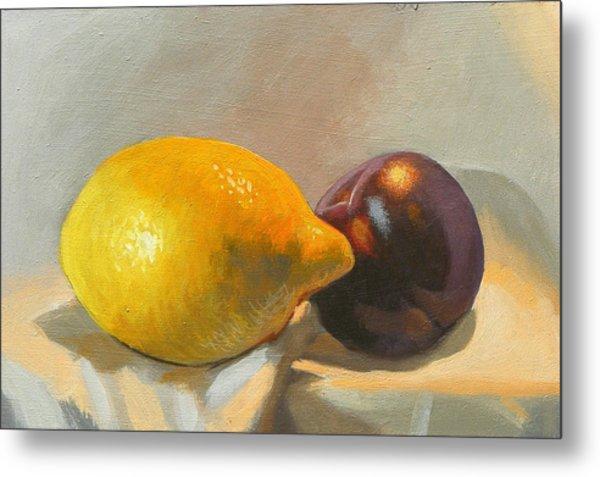 Lemon And Plum Metal Print by Peter Orrock