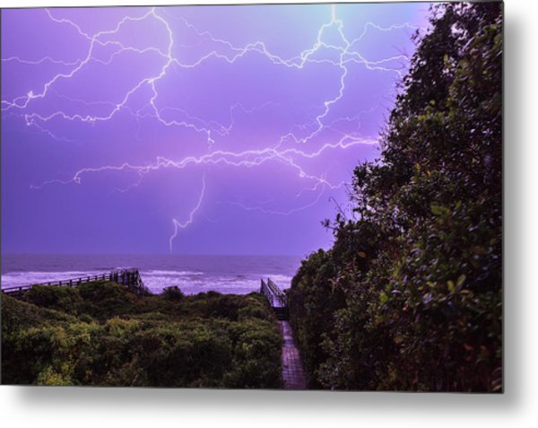 Lightning Over The Beach Metal Print