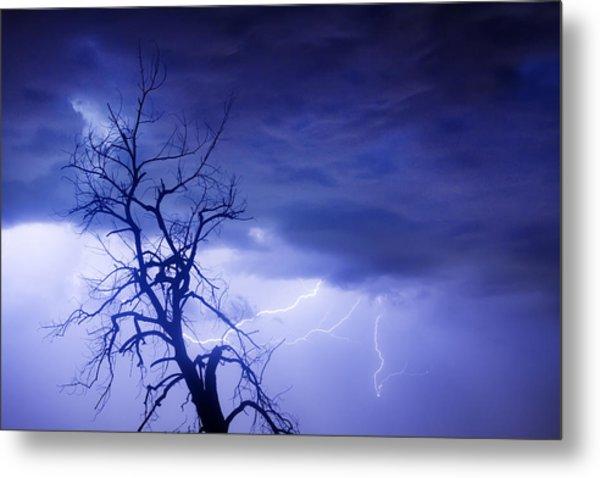 Lightning Tree Silhouette 29 Metal Print