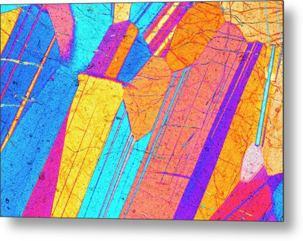 Lm Of A Thin Section Of Gabbro Rock Metal Print by Alfred Pasieka/science Photo Library