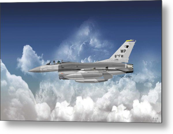 Lockheed Martin F-16c Fighting Falcon Metal Print by Arthur Eggers
