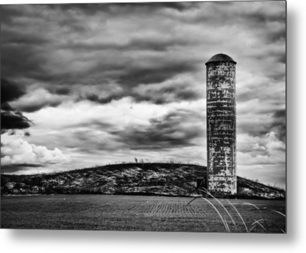 Lonely Silo Metal Print by Ricky L Jones