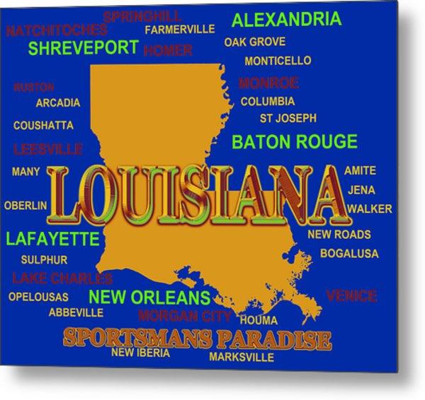 Louisiana State Pride Map Silhouette  Metal Print