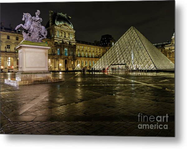 Louvre Pyramid And Pavillon Richelieu Metal Print by Rostislav Bychkov