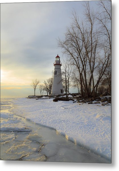 Marblehead Lighthouse Winter Sunrise Metal Print