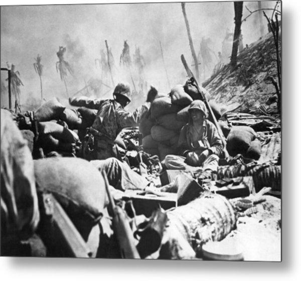 Marines Fight At Tarawa Metal Print