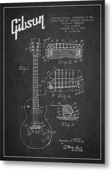 Mccarty Gibson Les Paul Guitar Patent Drawing From 1955 -  Dark Metal Print