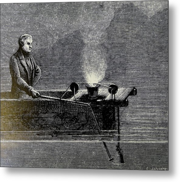 Measuring The Velocity Of Sound In Water Metal Print by Universal History Archive/uig